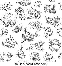 freehand, légumes, dessin