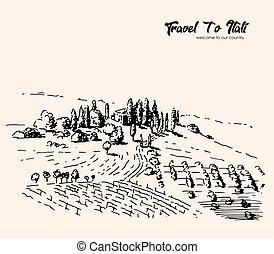 freehand, paysage, village, vecteur, dessin, italy.