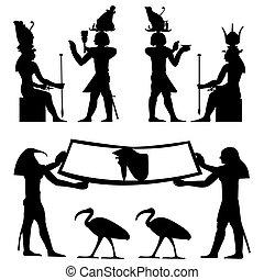 fresque, hiéroglyphes, égyptien
