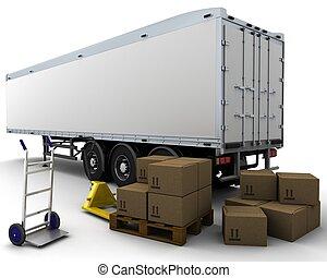 fret, boîtes, caravane, expédition