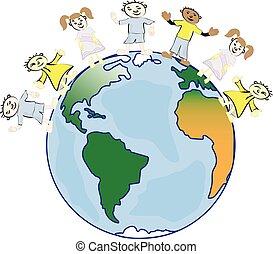 friend., diversité, costumes., multiculturel, traditionnel, culturel, la terre, la terre, planète, mon, enfants, folklorique