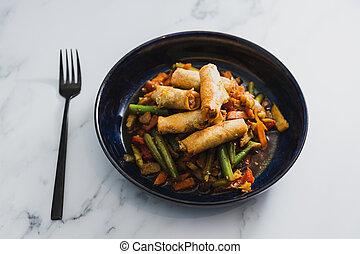 frire, vegan, végétariens, printemps, nourriture, remuer, plant-based, rouleaux