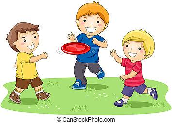 frisbee, jouer