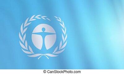 frise, environnement, unep, former, animation., drapeau, nations, programme, effet, uni
