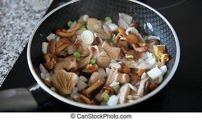 frit, friture, gros plan, champignons, délicieux, oignon, moule
