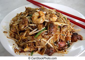 frit, nouilles, asiatique