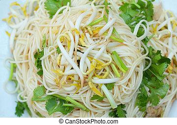 frit, nourriture chinoise, -, nouilles, remuer