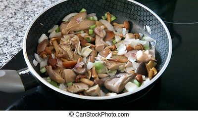 frit, oignon, friture, champignons, gros plan, délicieux, moule