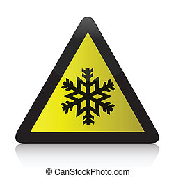 froid, avertissement, triangulaire, signe