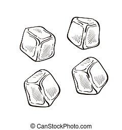 froid, refroidissement, cubes, morceaux, croquis, isolé, glace, ingrédient, boissons