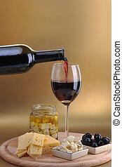 fromage, bouteille, vin