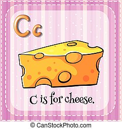 fromage, c, lettre, flashcard