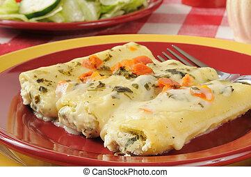 fromage, cannelloni, rocitta, bourré, épinards