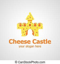 fromage, château, vecteur, conception, logo