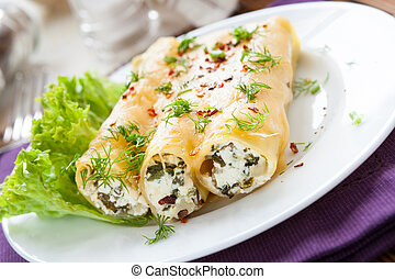 fromage, doux, cannelloni, italien