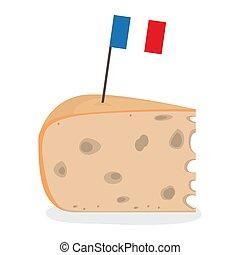 fromage, drapeau, morceau