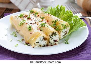 fromage, italien, cannelloni, bourré, épinards
