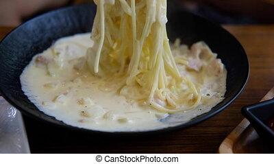 fromage, jambon, spaghetti, carbonara, manger