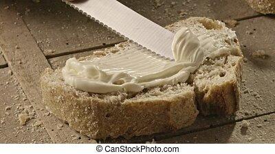 fromage, pain, bois, pâté, enduisage, frais, planche, homme, morceau