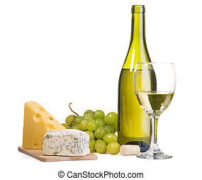 fromage, vin, nature morte