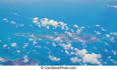 frome, antilles, île, fenêtre, vu, avion, anguilla