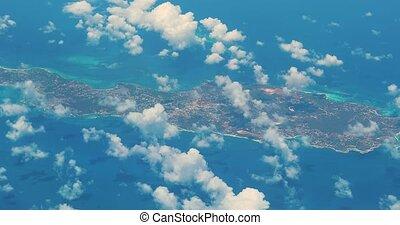 frome, antilles, avion, île, vu, fenêtre, anguilla