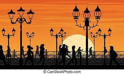 front mer, rue, coucher soleil, gens.