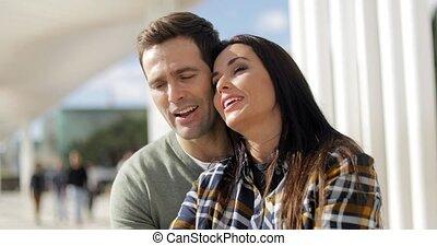 front mer, urbain, couple, jeune, délassant