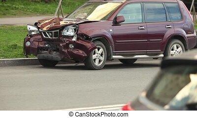 front, voiture, après, fracas, collision