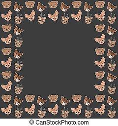 frontière, cadre, text., arrière-plan., renards, gazelles, mignon, singes, araignés, faces, sombre, dorcas, okapis, vector., vide, grands traits, carrée, fennec, dessin animé, blanc, africaine