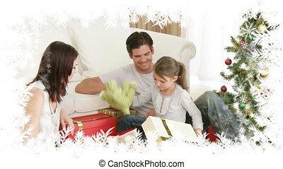 frontière, flocon de neige, dîner, noël famille