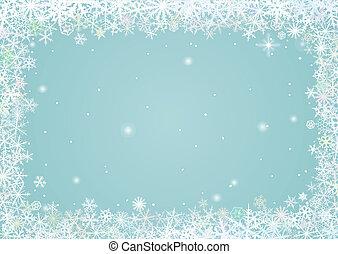 frontière, flocons neige