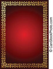 frontière florale, arrière-plan rouge
