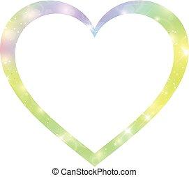 frontière, formé, hologramme, magie, coeur, fantasme, étoiles, blurs., gradient