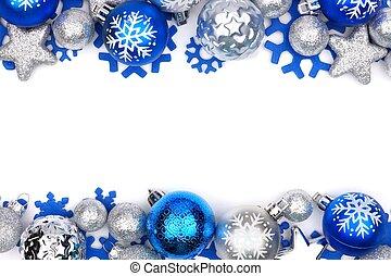 frontière, ornement, sur, noël, blanc, double, argent, bleu