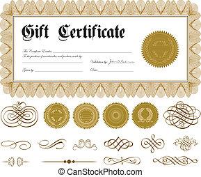 frontière, vecteur, ornements, or, certificat
