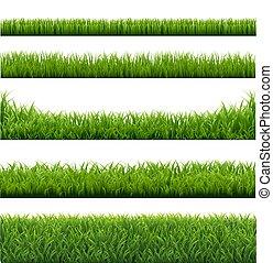 frontières, herbe, vert, ensemble, fond
