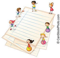 frontières, papier, enfants jouer