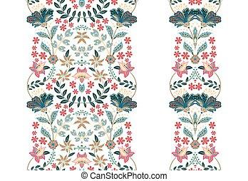 frontières, vecteur, design., ensemble, floral, illustration, seamless, ton