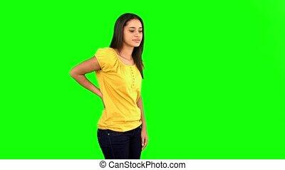frottement, vert arrière, douloureux, femme