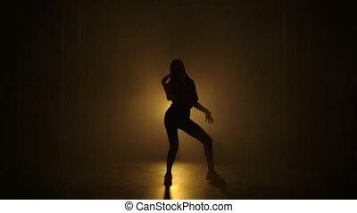 frousse, éléments, jazz, exécute, motion., silhouettes, lights., professionally, lent, fond, girl, danses