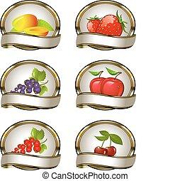 fruit, étiquettes, poussée, collection
