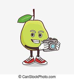 fruit, appareil photo, goyave, action, dessin animé, mascotte, caractère, photographe