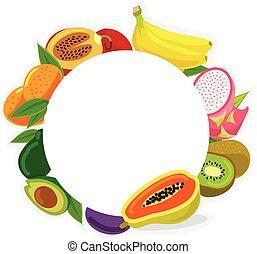fruit, cadre, vecteur, illustration