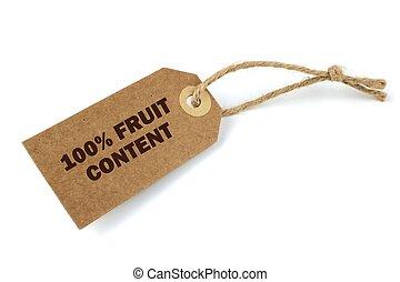fruit, contenu, 100%, étiquette