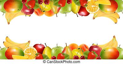 fruit., délicieux, frontières, mûre, deux, vector., fait