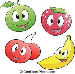 fruit, dessin animé