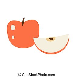 fruit, entier, pomme rouge, dessin animé, illustration., sliced., vecteur, isolé