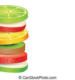 fruit frais, tranches