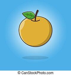 fruit frais, vecteur, jus, orange